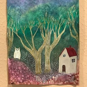 "Original Painting watercolor folk art 9""x12"""